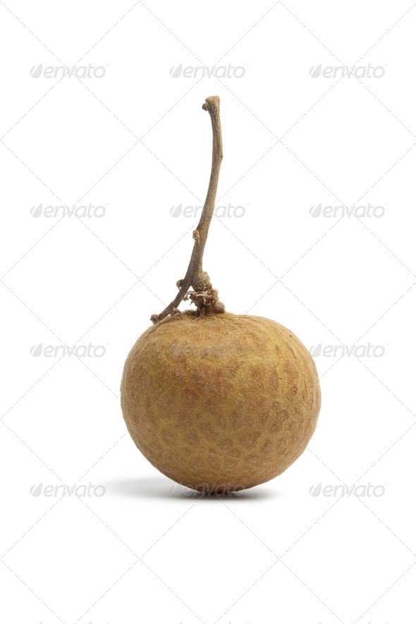 Whole single longan fruit with stem - Stock Photo - Images