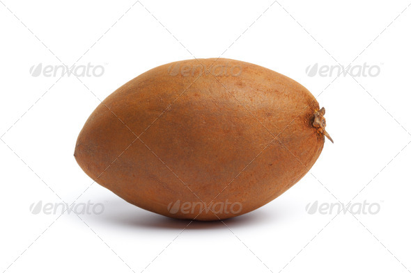 Whole fresh single sapodilla - Stock Photo - Images