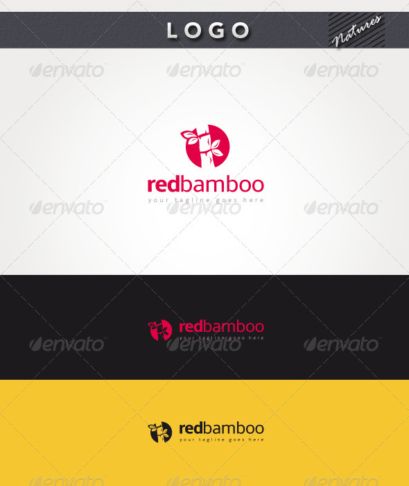 Red Bamboo Logo - Nature Logo Templates