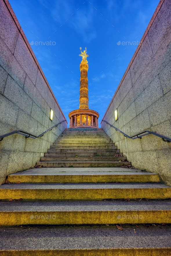 The Victory Column in Berlin at night - Stock Photo - Images