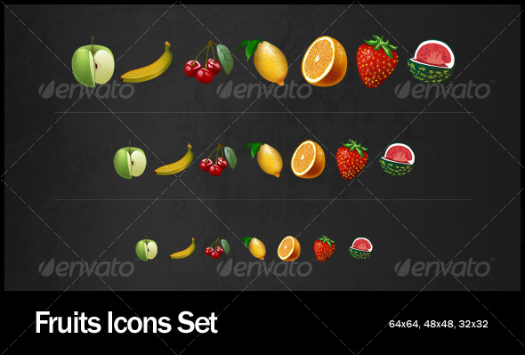 Fruits Icons Set - Food Objects