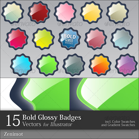 Bold Glossy Badges - Decorative Symbols Decorative
