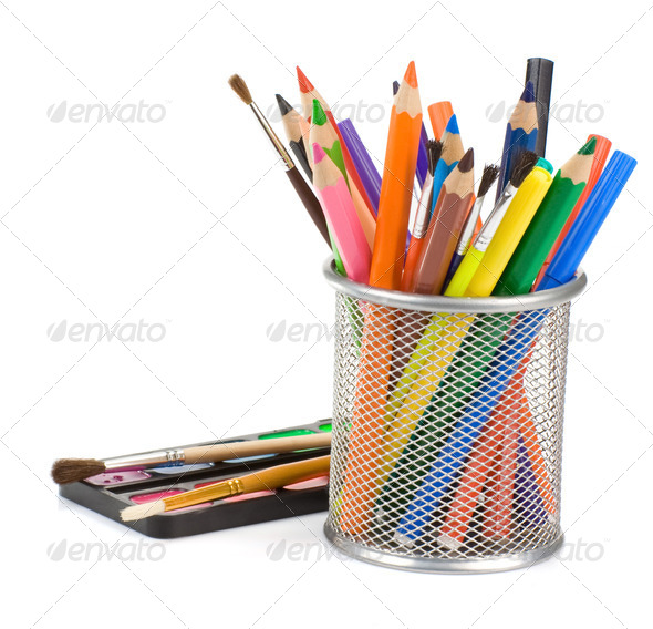 holder basket with pencils and paint - Stock Photo - Images