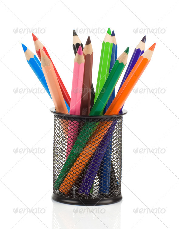 colorful pencils in holder basket on white - Stock Photo - Images