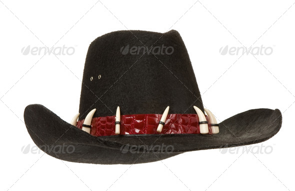 black cowboy hat isolated on white - Stock Photo - Images