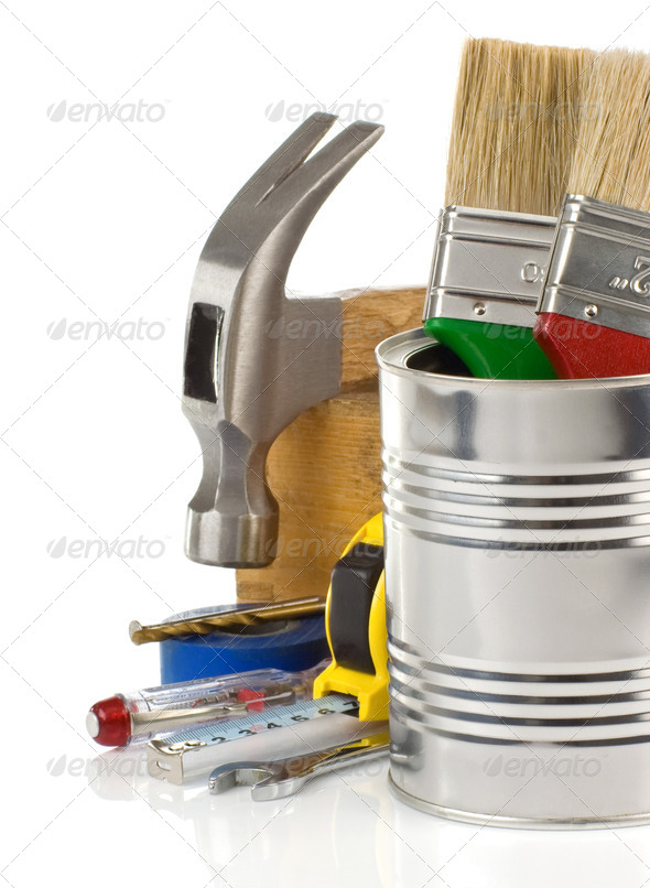 tools isolated on white - Stock Photo - Images