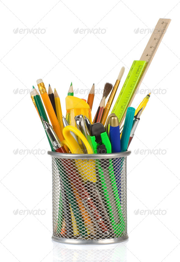 holder basket in school accessories on white - Stock Photo - Images