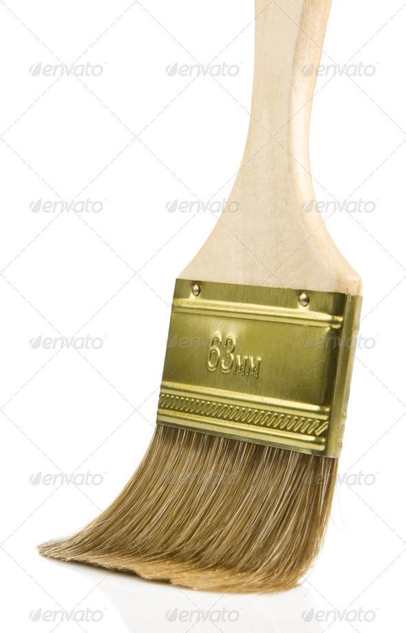wooden paintbrush isolated on white - Stock Photo - Images