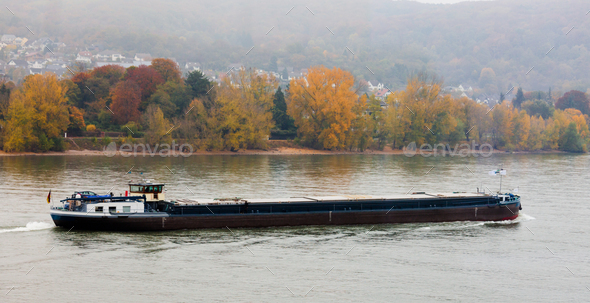 Loaded barge navigating river Rhine Germany - Stock Photo - Images