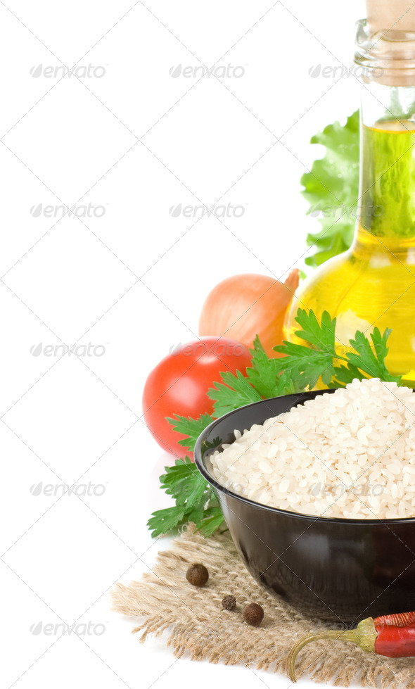 rice and healthy food - Stock Photo - Images