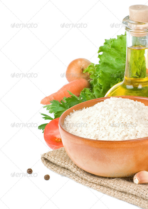 rice and healthy food isolated on white - Stock Photo - Images