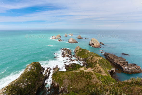 Beautiful rocky Nugget Point of NZ Catlins Coast - Stock Photo - Images