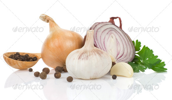 garlic, onion and green parsley on white - Stock Photo - Images