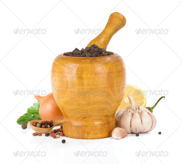 food ingredients and spice on white - Stock Photo - Images