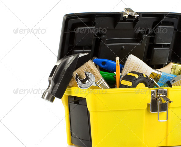 kit of tools in box isolated on white - Stock Photo - Images