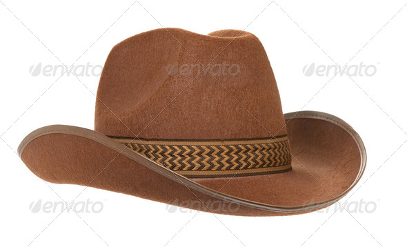 brown cowboy hat isolated on white - Stock Photo - Images