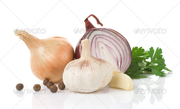 garlic, onion and green parsley - Stock Photo - Images