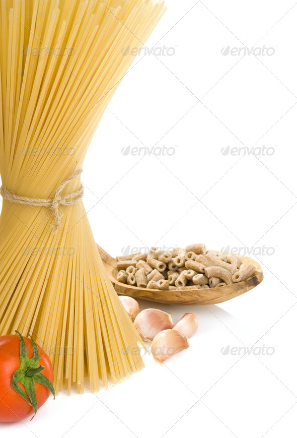 pasta and wooden spoon - Stock Photo - Images