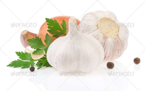 garlic food spices isolated on white - Stock Photo - Images