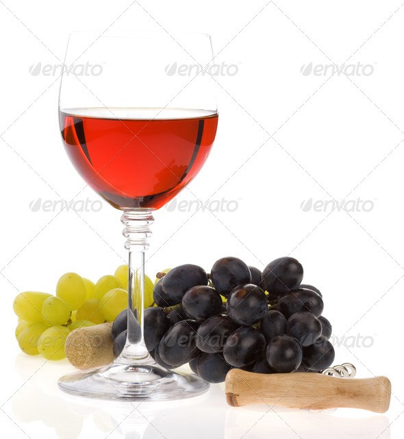 wine in glass and grape fruit - Stock Photo - Images