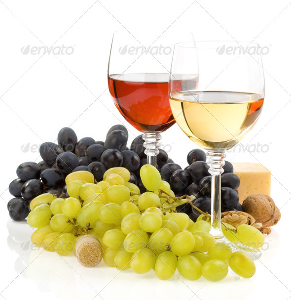 wine in glass and fruit isolated on white - Stock Photo - Images