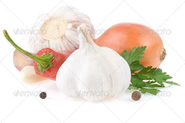 garlic and vegetables with food spices - Stock Photo - Images