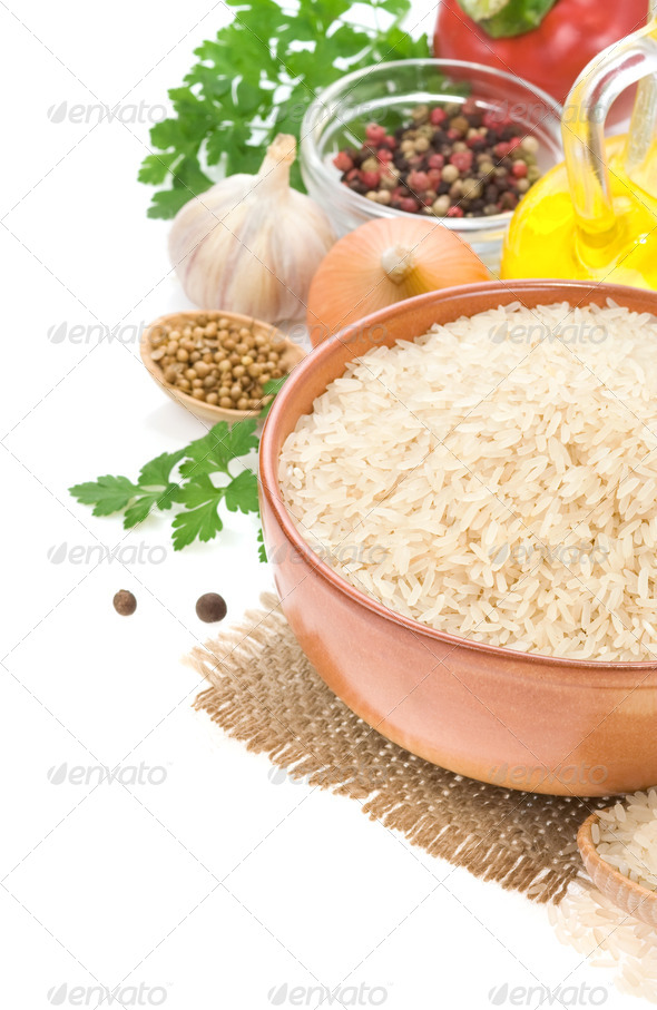 rice and vegetable with food spices - Stock Photo - Images