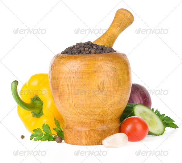 food vegetable ingredients and mortar with pestle - Stock Photo - Images