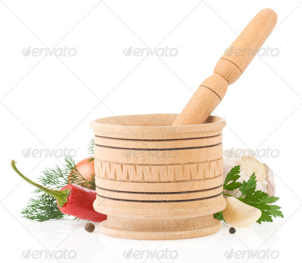 food ingredients and spices in mortar - Stock Photo - Images