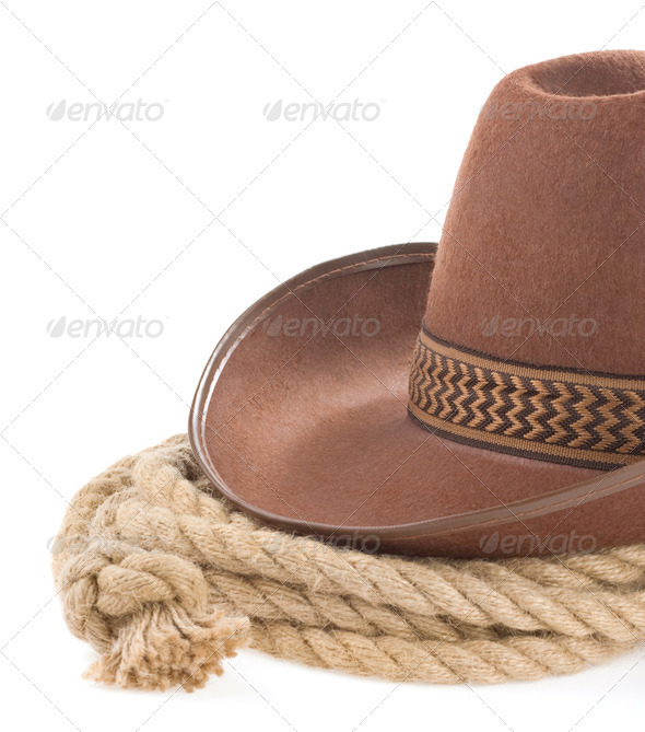 brown cowboy hat and rope isolated on white - Stock Photo - Images