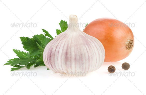 garlic vegetable and food ingredients - Stock Photo - Images