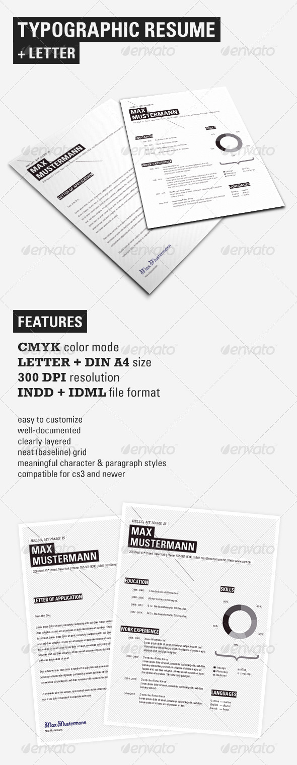 Typographic Resume Set - Resumes Stationery