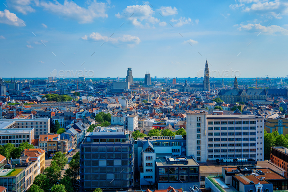 Aerial view of Antwerp - Stock Photo - Images
