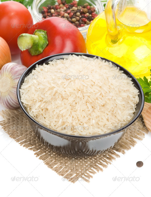 rice and food ingredient isolated on white - Stock Photo - Images