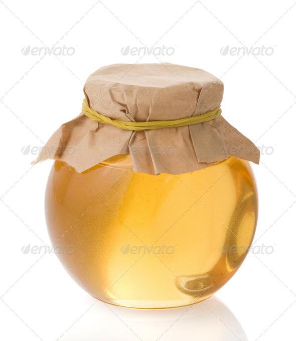 honey jar isolated on white - Stock Photo - Images