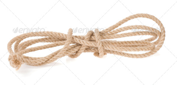 ship rope with knot isolated on white - Stock Photo - Images