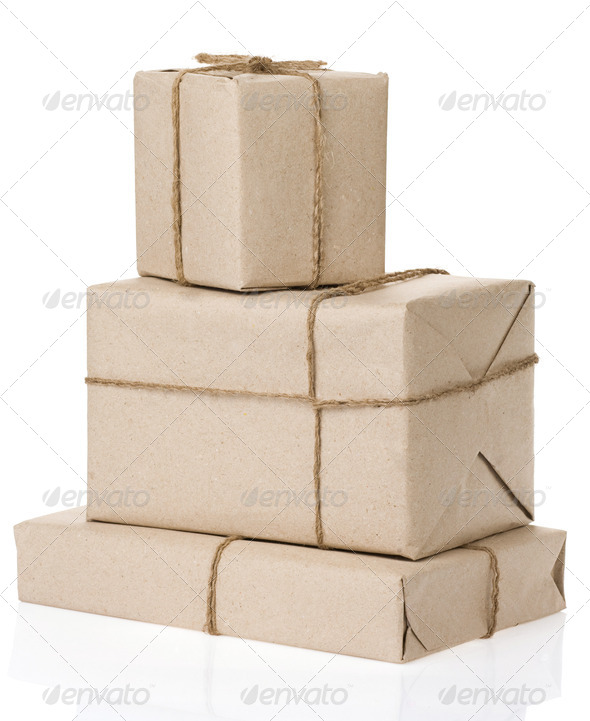 parcel wrapped with brown paper - Stock Photo - Images