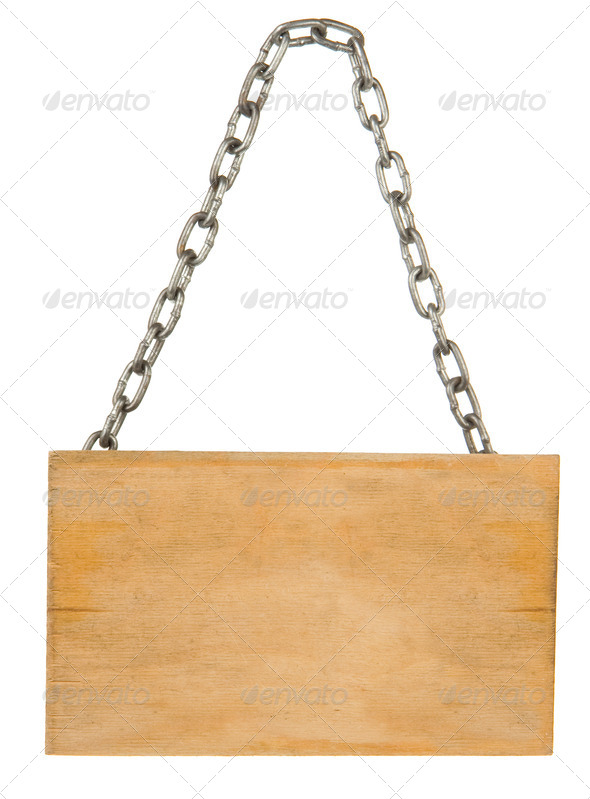 signboard and chain rope on white - Stock Photo - Images
