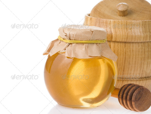 honey jar isolated on white - Stock Photo - Images