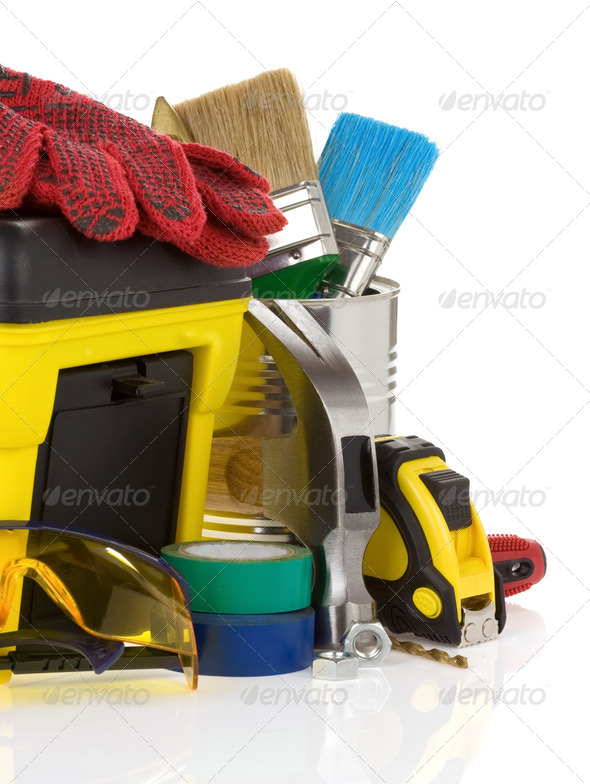 set of tools and toolbox isolated on white - Stock Photo - Images