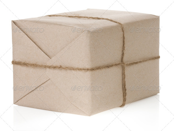 parcel wrapped isolated on white - Stock Photo - Images
