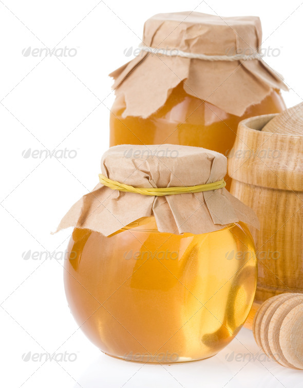 honey jar and pot isolated on white - Stock Photo - Images