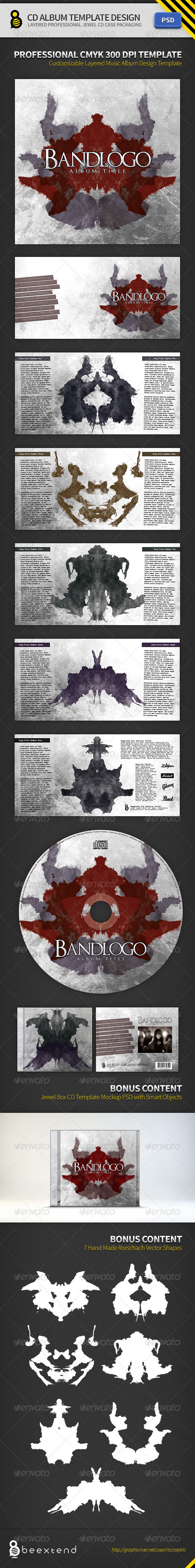 CD Album Template Design II - CD & DVD Artwork Print Templates