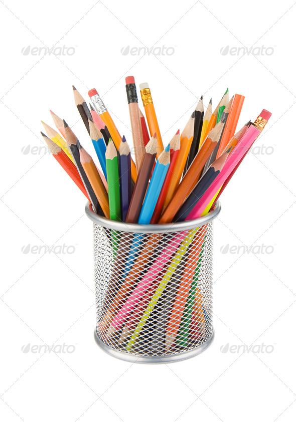pencils and basket holder isolated on white - Stock Photo - Images