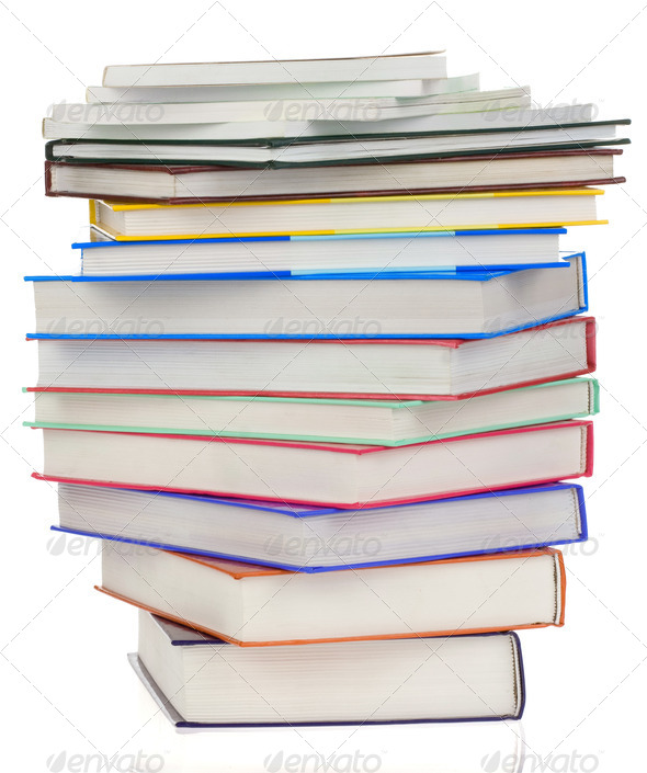 pile of books isolated on white - Stock Photo - Images