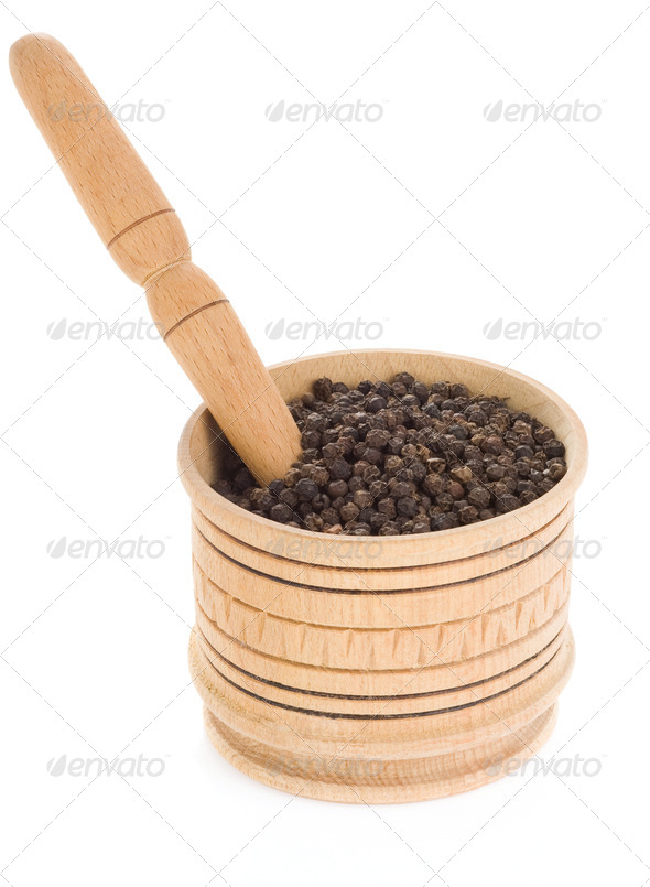 pepper in mortar and pestle on white - Stock Photo - Images