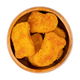 Deep-fried vegan nuggets based on soy and wheat protein, in wooden bowl - PhotoDune Item for Sale