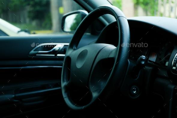 Car interior. Blank steering wheel. Sedan interior - Stock Photo - Images