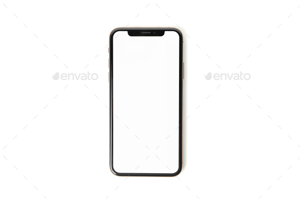 Phone with empty screen isolated on white background - Stock Photo - Images