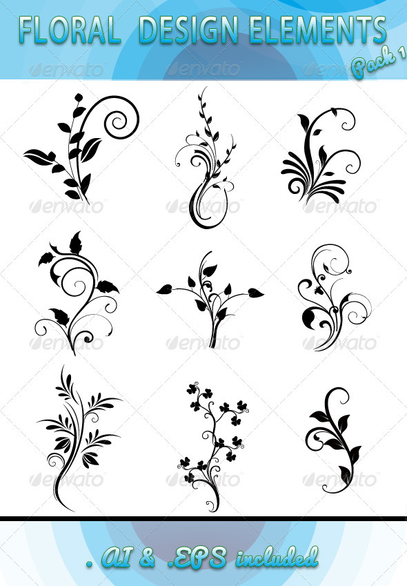 Floral Design Elements  Pack 1 - Flourishes / Swirls Decorative